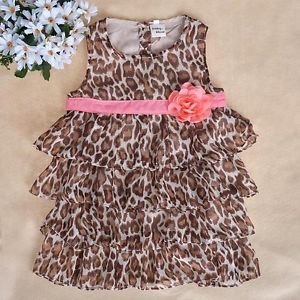 Baby Kids Toddler Girl Dress Clothes Pettiskirt Tutu Skirt Leopard 2 3Year NL07