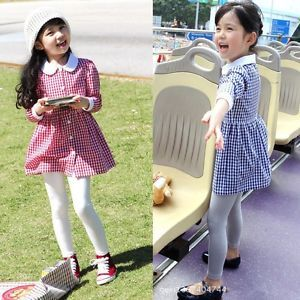 Classic Checks Patterns Kids Toddler Girls White Collar Shirt Dress 100 Cotton