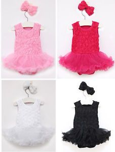 Infant Baby Girl Newborn Headband Romper Jumpsuit Tutu Flower Clothes Outfit Set