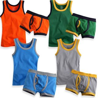 "Vaenait Baby Toddler Boy Underwear Undershirt Boxer Brief Set""Light 4 Color"""