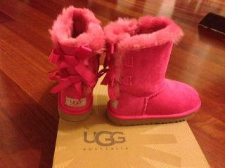 New UGG Australia Bailey Pink Cerise Bow Toddler Kids US 12