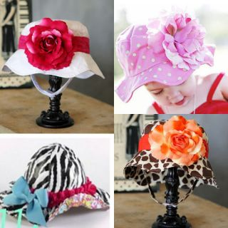1pc Baby Kids Girls Children Floppy Hat Cap Flower Sun Hat