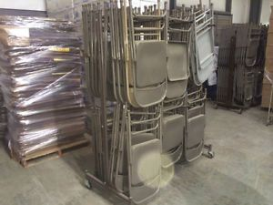 130 Folding Metal Chairs with Chair Rack
