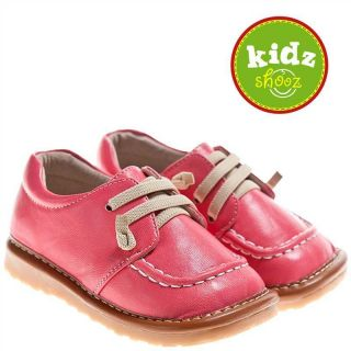 Girls Kids Toddler Infant Childrens Leather Squeaky Shoes Pastel Peach Pink