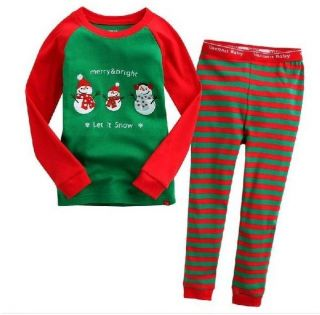 New Cute Baby Kids Suits Boys Girls Sleepwear Snow Man Christmas Pajama Set