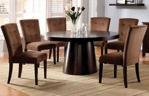 "7 Piece 60"" Contemporary Round Espresso Dining Table and Velvet Chair Set"