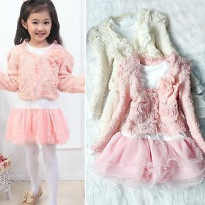 Girls Cute Outfit Jacket Tutu Top Dress Toddler Party Pageant Flower Clothes Q
