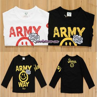 Kids Toddler Boys Girls Clothes Long Sleeve Basic Tee T Shirt Tops Army Way T175