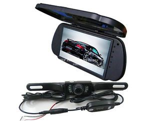 "7"" LCD Car Rear View Reverse Mirror Monitor Wireless IR Backup Camera Cam Kit"