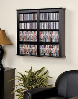 Prepac Black Medium Capacity Hanging Wall Media DVD CD Games Storage