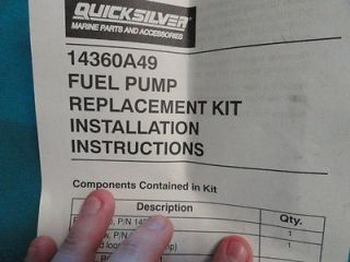 Mercury Quicksilver Fuel Pump Replacement Kit 14360A49 Marine Boat