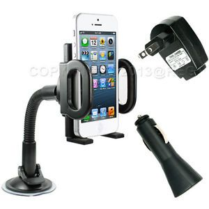 Universal Car Windshield Phone Holder Mount Cradle Stand USB Wall Car Charger