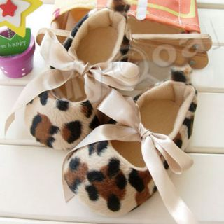 Infant Baby Toddler Girl Dot Damask Leopard Print Silk Ribbon Shoes Newborn Gift