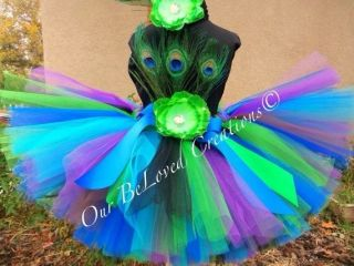 Handmade Peacock Party Costume Ballet Kids Dancing Girl Child Baby Tutu Skirt