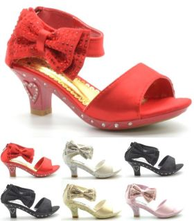 New Kids Girls Side Gems Bow Kitten Heel Children Wedding Shoes Sandal Size 10 4