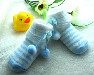 Top Newborn Infant Baby Girl Blue Cotton Sewing Bow Pendant Toddler Socks SO303