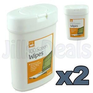 2pk Screen Wipes 100 Cleaner Wipes TV LED LCD Computer Monitor Laptop Phone