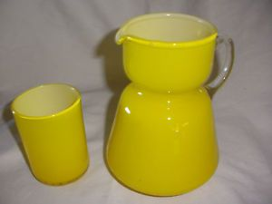 Vintage Bright Yellow Cased Glass Bedside Water Pitcher Carafe w Cup Lid EX Cond