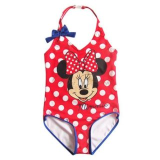Girls Minnie Mouse Polka Dots Halter Swimsuit Swimwear Bathing Suit Sz 4 6 8 10
