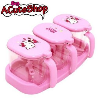 Hello Kitty 3 Pcs Set Condiment Seasoning Container Case w Spoon Set Donut