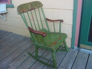 Antique Child's Windsor Rocking Chair in Old Green Paint Decoration Marlboro MA