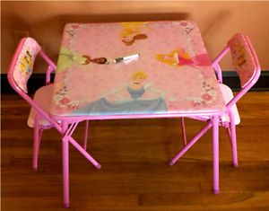 New Childrens Disney Princess Erasable Table Set and Two Chairs Instant SHIP