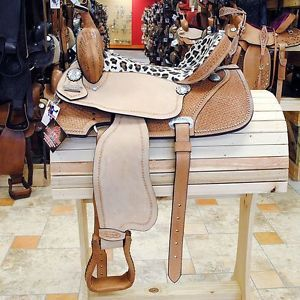 Hilason Western Barrel Racing Trail Saddle 16 w Hair on Cheetah Print Seat