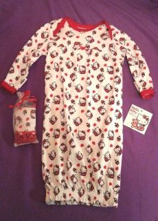 Hello Kitty Baby Girl Gown Cap Set Outfit Size 0 6 Months Red Cupcakes