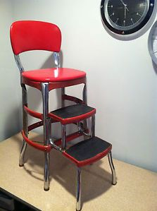 Vintage Cosco Stylaire Red Chrome Kitchen Step Stool Chair Mid Century 1950'S