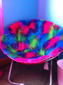 Justice for Girls Hot Pink Blue Green Saucer Chair