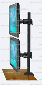 Vertical Dual LCD Monitor Desktop Stand Up to 24""