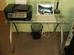 Computer Desk Stand Laptop Printer Sized Table Chrome Legs Clear Tempered Glass