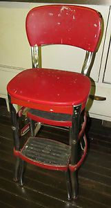 1950s Cosco Kitchen Red Vinyl Chrome Step Stool Chair Vintage Mid Century Modern