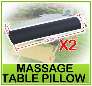 "Set of 2 25 25"" PU Massage Pillow Table Chair Half Round Bolster Black"