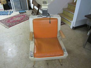 Turbinator Model 450 Salon Hair Dryer Hood Chair Orange Vinyl Art Deco Vintage