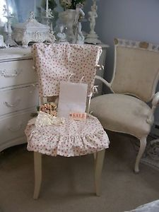 Sale Rachel Ashwell TM Shabby Chic White Pink Rose Ruffled Chair Cover
