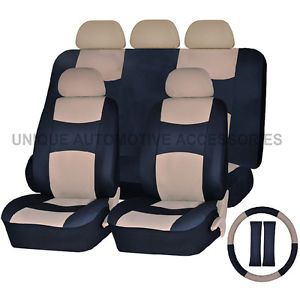Ford Mustang PU Leather Beige Black Semi Custom Seat Covers Bench 14 Pcs Set