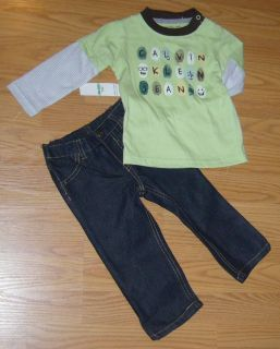 Calvin Klein Boys Infant Toddler Layered L s Shirt Jeans Set 18 Months Baby