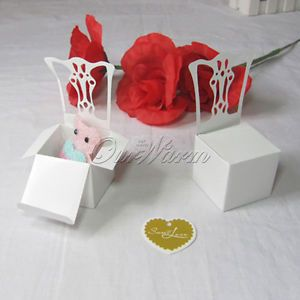 50 White Chair Wedding Party Gift Favor Boxes Supplies