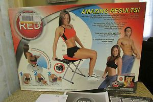 Red Fitness XL Abdominal Exerciser Machine Chair Manual DVD Original Box