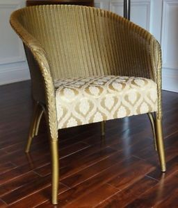 Vintage Antique Lloyd Loom Art Deco Gold Wicker Lusty Chair Gatsby Glam Superb