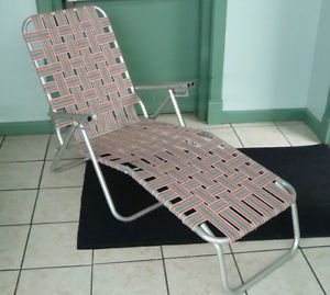 Retro Aluminum Folding Webbed Lawn Chair Chaise Lounge Orange Teal