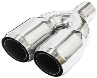 "2 5"" Dual Double Layer Twin Stainless Steel Exhaust Tip"