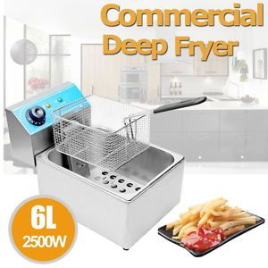 Commercial 2500W 6 Liter Electric Countertop Deep Fryer Dual Tank Restaurant