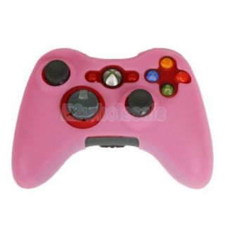 Gel Silicone Rubber Protective Skin Case Cover for Xbox 360 Game Controller Pink