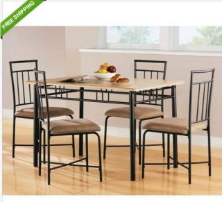 Dining Set Wood Metal Chairs Table 5 Piece Kitchen Elegant Modern Furniture Room