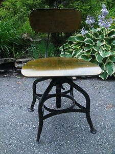 Vtg Toledo Uhl Industrial Drafting Stool Machine Age Adjustable Chair Steampunk