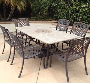 Patio Set Stone Table with 6 Iron Chairs Used Fixer Upper