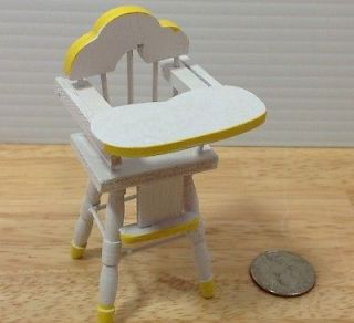 Doll House Furniture Wood White Baby High Chair Dining Kitchen Miniature