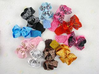 20 Baby Girl Leopard Big Hair Bows 5 inches with Headband Without Clips 475 492